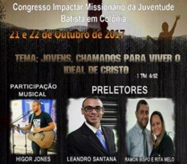 Convite: Igreja Batista em Colônia realizará congresso neste mês de outubro