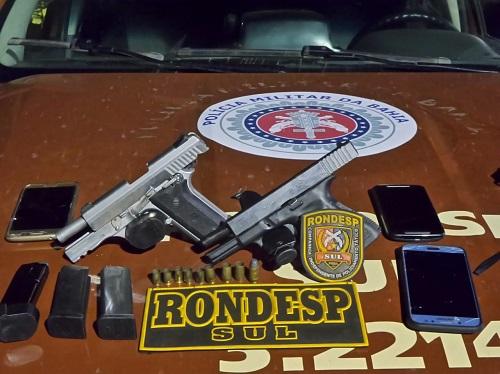 Itabuna: Rondesp sul prende em flagrante suspeitos de homicídio armados