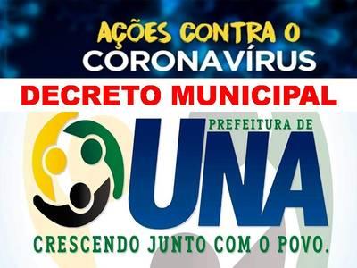 Prefeitura de Una prorroga quarentena por mais 15 dias com medidas de combate ao Coronavírus