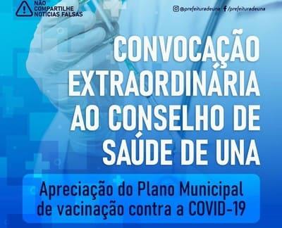 Atenção: Convocação extraordinária ao Conselho de Saúde de Una