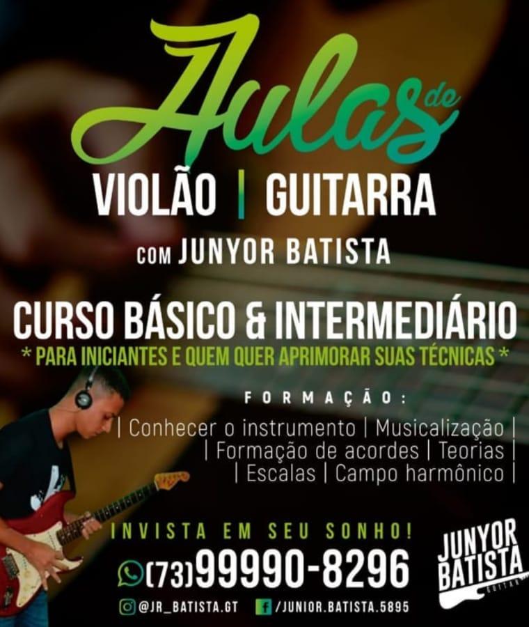 Una: Aulas de violão e guitarra com Junyor Batista; curso básico e intermediário